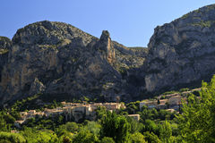 Beautiful French Mountain Village of Moistiers Sainte Marie, Verdon, France Stock Photos