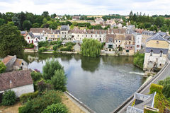 Beautiful French village. Beautiful postcard of a peaceful  French village with a river Stock Photography