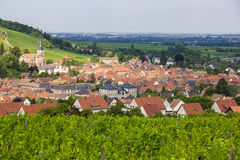 A beautiful French village in the Alsace with church among vineyards. A beautiful French village in the Alsace region with church among green vineyards Royalty Free Stock Image