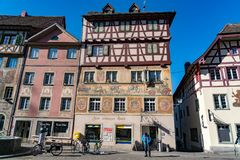 Beautiful fresco on the building in historic old town Stein Am Rhein royalty free stock images