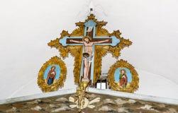 Beautiful fresco cross.Altar in church Royalty Free Stock Photography
