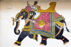 Beautiful fresco of elephant in parade, Udaipur stock photos
