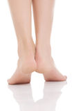 Beautiful fresh bare feet, heels. Stock Photos