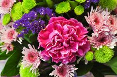 Close up of a bouquet of flowers. Beautiful fresh Blossoming Bouquet of pink carnations and others close up Royalty Free Stock Photos