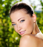 Beautiful fresh female face outdoors Royalty Free Stock Images