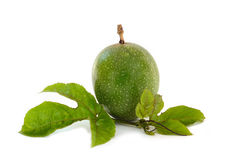 Beautiful Fresh green passion fruit isolate on white background Stock Photo