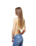 Beautiful, fresh and healthy girl. In jeans isolated on white Stock Images