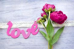 Beautiful fresh peonies on wooden surface. Beautiful fresh peoniesand and some decorations on wooden surface stock photo
