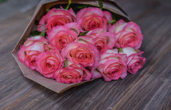 Beautiful fresh pink roses. royalty free stock photos