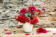 Beautiful fresh red dalia bouquet Stock Photography