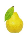 Beautiful fresh ripe yellow pear with green leaf Royalty Free Stock Photos