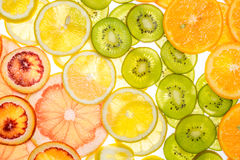 Beautiful fresh sliced mixed citrus fruits as background Royalty Free Stock Images