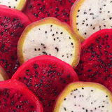 Beautiful fresh sliced red and white dragon fruit Royalty Free Stock Photos