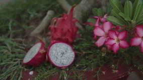 Beautiful fresh sliced white dragon fruit as background, close up Pitaya. Is the plant in Cactaceae family or Cactus stock footage