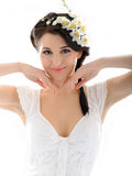 Beautiful fresh spring woman with flowers Royalty Free Stock Photos