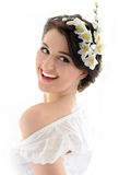 Beautiful fresh spring woman with flowers Royalty Free Stock Images