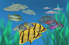 Beautiful fresh water fish masses. In deep water Stock Images