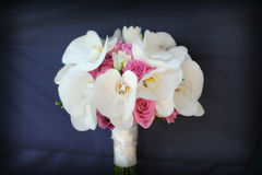 Beautiful and fresh wedding bouquet with white orchids and pink roses. Isolated wedding bouquet, against a dark blue background, a very elegant bridal stock photos
