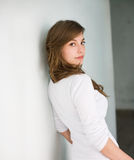 Beautiful fresh young brunette in white shirt. Stock Photography