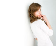 Beautiful fresh young brunette in white shirt. Royalty Free Stock Photos