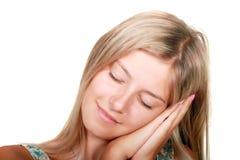 Beautiful fresh young women sleeping. Close-up portrait of a beautiful fresh young women sleeping royalty free stock photography