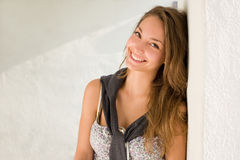 Beautiful friendly brunette girl. Royalty Free Stock Photo