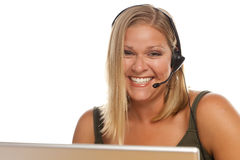 Beautiful Friendly Customer Support Girl and Computer stock photography