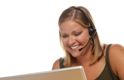 Beautiful Friendly Customer Support Girl and Computer Royalty Free Stock Image