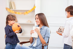 Beautiful friendly family is celebrating Nut-Crack Royalty Free Stock Image