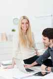 Beautiful friendly young businesswoman Royalty Free Stock Photography