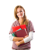Beautiful friendly young student girl. Royalty Free Stock Photo