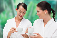 Beautiful friends in bathrobes drinking herbal tea Royalty Free Stock Photography