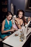 Beautiful friends doing make up Royalty Free Stock Photography