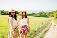 Beautiful friends enjoying summer and nature Royalty Free Stock Photos