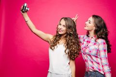 Beautiful friends with long wavy hair making funny selfie with film camera. Stock Image