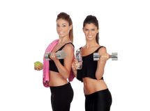 Beautiful friends training lifting weights Royalty Free Stock Image