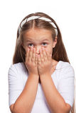 Beautiful frightened girl isolated over white Royalty Free Stock Photos