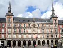 Beautiful front decorated with ancient frescoes in the Plaza Mayor of Madrid Spain Europe.  Royalty Free Stock Image