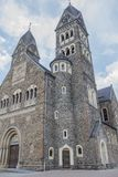 Beautiful front and side view of the Church Saints Cosmas and Damian in Clervaux royalty free stock photo