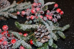 Frosty christmas wreath. A beautiful frosty Christmas wreath of spruce, red berries, green leaves and cones Stock Image