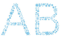 Beautiful frosty letters of snowflakes. On a white background Royalty Free Illustration