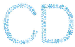 Beautiful frosty letters of snowflakes. On a white background Stock Illustration