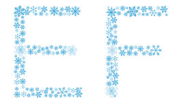 Beautiful frosty letters of snowflakes Royalty Free Stock Image