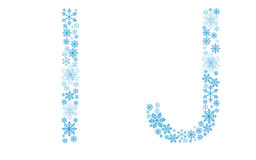 Beautiful frosty letters of snowflakes. On a white background Stock Photography