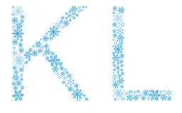Beautiful frosty letters of snowflakes. On a white background Royalty Free Stock Photo