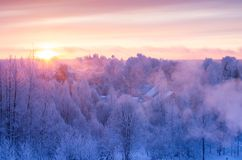 A beautiful frosty morning. Christmas morning. Beautiful dawn. Hoarfrost on the branches of trees royalty free stock photo