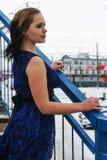 Beautiful frozen girl on bridge at winter Stock Photo