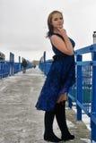 Beautiful frozen girl on bridge at winter Royalty Free Stock Image