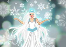 Beautiful frozen queen in white cold ice scene