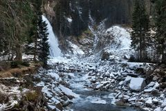 Beautiful frozen scenery at the Krimml waterfall, Austria. Beautiful frozen scenery at the Krimml waterfall, Austria Royalty Free Stock Photo